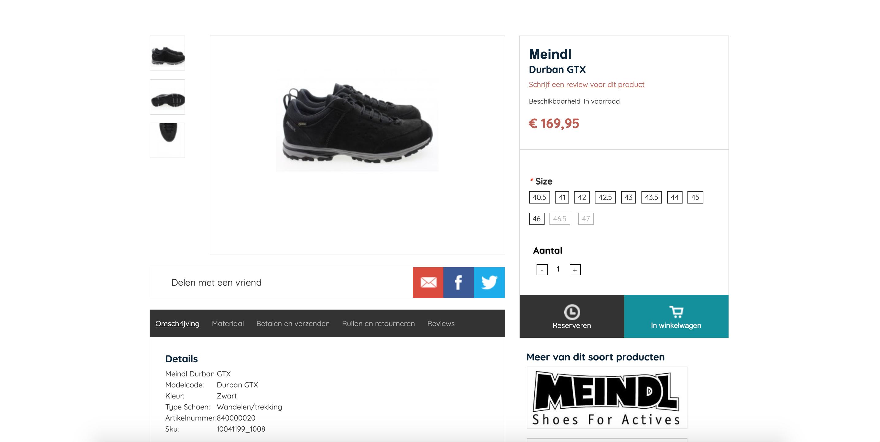 Een voorbeeld van een niet geoptimaliseerde webshop