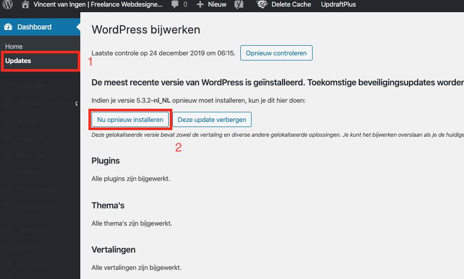 Wordpress http error 500 oplossen